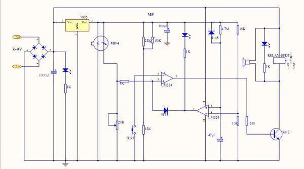 通过两个电阻并联接地与电容合起来进一步提高和调节7805输出电压的