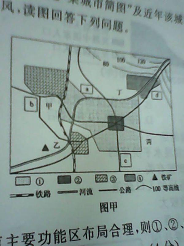 这是某城市简图谁能帮我按照这个图回答两个问题 (1)如该城市主要功能