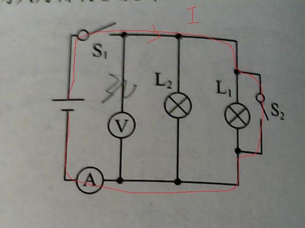 当闭合开关s1,s2为什么电压表,l1,l2都被短路?