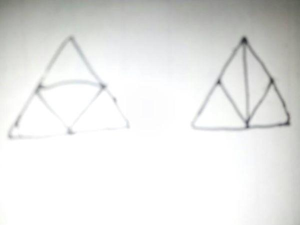 等边三角形四等分的两种不同方法?