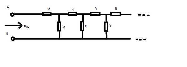 一道电路原理题在如图所示无限长电阻网络中,全部电阻r=1欧姆.