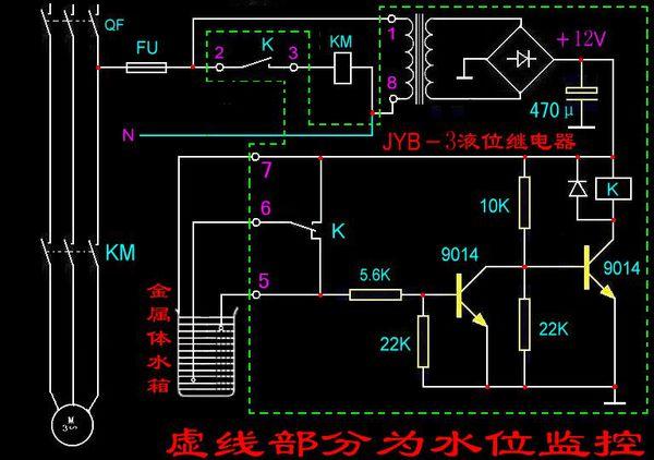 求水位自动控制器的简易电路图?