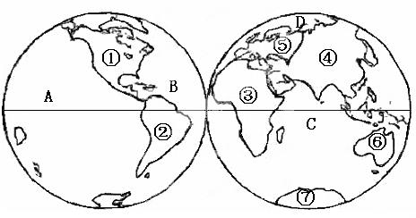 读世界海陆分布图,完成下列各题