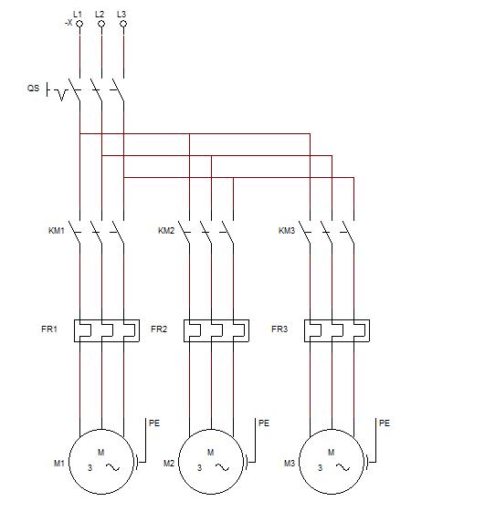 画出三台电动机的主电路与控制电路