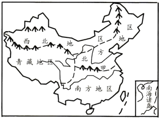 """(2011淮安)读""""我国四大地理区域分布图"""",回答37~38题.图片"""