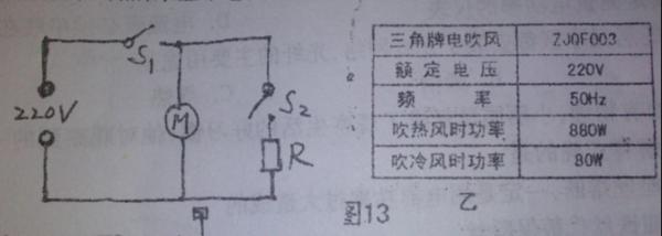 如图13所示是电吹风的电路原理图,r是电热丝,m是带动电扇转动的电动机