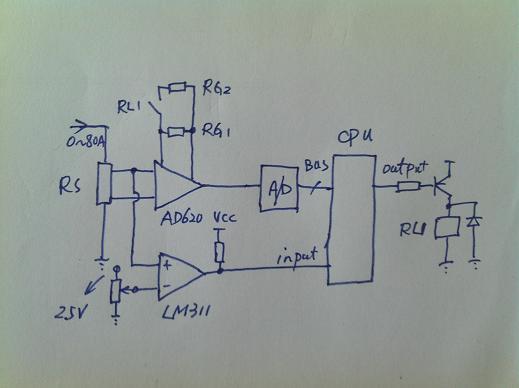 我想用op07采集不同范围的电流值达到不同放大的倍数.