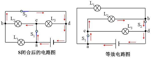 如左图所示,在导线和导线的接点,分别标出a,b,c,d,这四个点就是电路的
