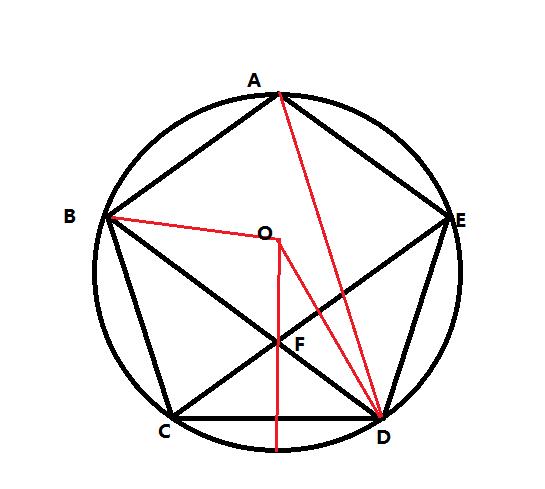 如图,多边形abcde是圆o的内接正五边形,对角线bd,ce交