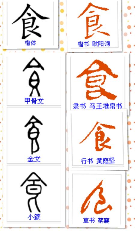 """急求""""食""""字的甲骨文,金文,小篆,隶书,楷书,草书,行书的写法!图片"""