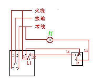 这种双开单控开关怎么接,后面的接线孔是第一排l22 l1