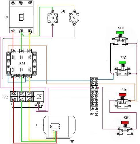 """对同一台三相异步电动机进行""""启动""""和""""停止""""控制电路"""