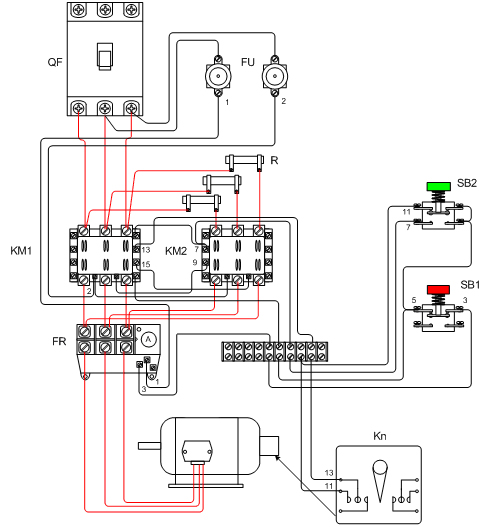 设计一个三相异步电动机的控制电路,要求:单向的直流启动;利用速度