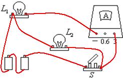 并联电路实物连接_将图中的实物连接起来,要求:灯L1、L2并联,电流表测量通过灯 ...